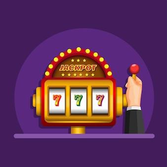 Ręka w automacie z jackpotem w kasynie w ilustracja kreskówka