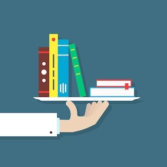 Ręka w garniturze trzyma książki na talerzu. koncepcja informacji, bibliografia, bestsellerowa aplikacja mobilna, broszura, redaktor, hobby, badania. płaski trend w nowoczesnym stylu ilustracji wektorowych na niebieskim tle