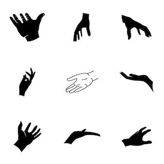 Ręka wektor. prosta ilustracja dłoni, edytowalne elementy, które można wykorzystać w projektowaniu logo