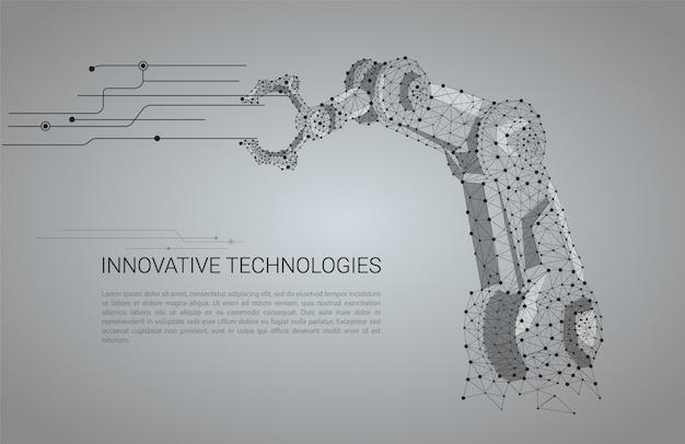 Ręka wektor robota. wielokątna siatka szkieletowa wygląda jak konstelacja z kropkami i gwiazdami.