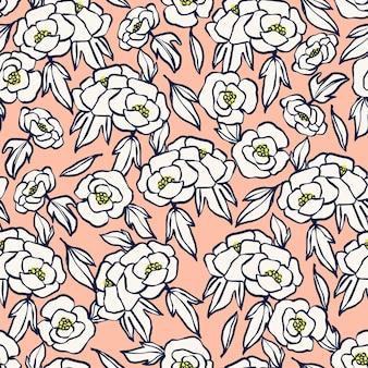 Ręka wektor rysunek obrysu pędzla pióra zarys prosty kwiat ilustracja bezszwowe powtarzać wzór