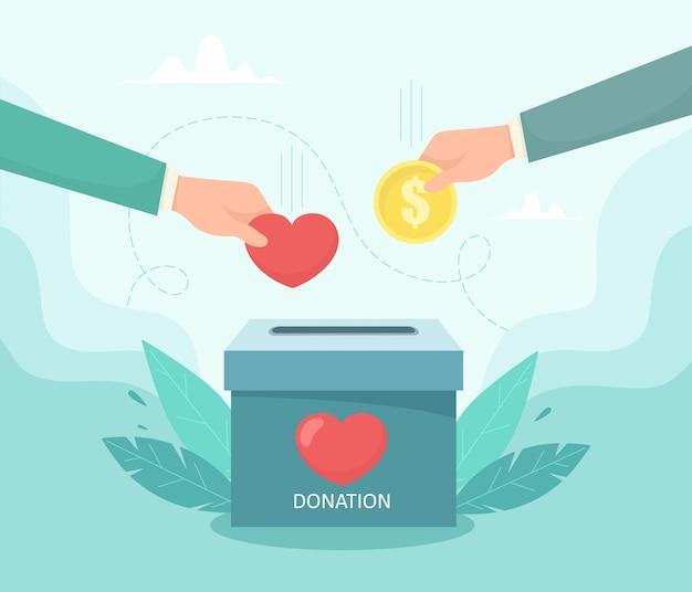 Ręka wkłada pieniądze i monetę do pudełka na cele charytatywne. pojęcie miłości i troski o ludzi. ilustracja w stylu płaski.