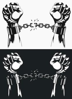 Ręka wolności zrywająca się z łańcuchów kajdanek.