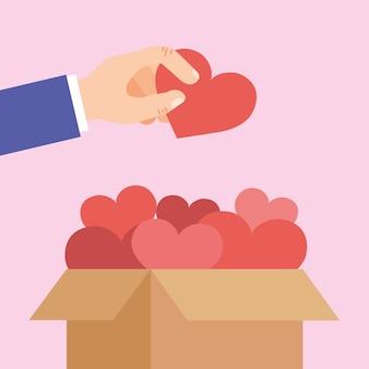 Ręka wpłacająca darowiznę w ilustracji kreskówka pudełko miłości