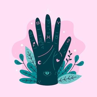 Ręka wróżki z diagramem chiromancji i liści