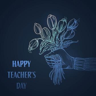 Ręka z bukietem kwiatów szkic tło dnia nauczycieli