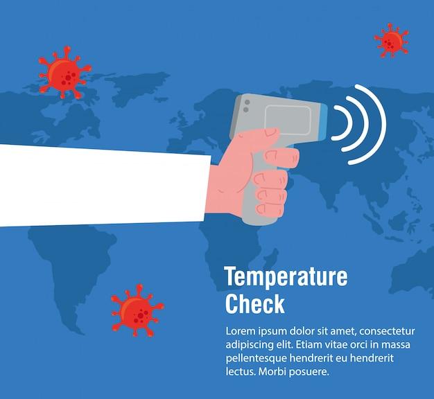 Ręka z cyfrowym bezkontaktowym termometrem na podczerwień, mapa świata międzynarodowa, zapobieganie chorobie wieńcowej 2019 ncov