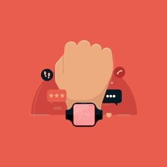Ręka z cyfrowym i inteligentnym zegarkiem zdrowotnym