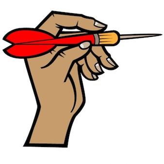 Ręka z dart w rzucanie pozycję