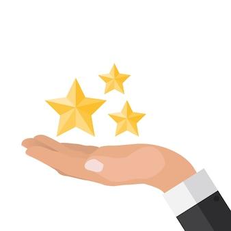Ręka z gwiazdami płaska konstrukcja. present, gift, coupon concept