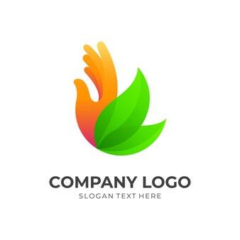 Ręka z ikoną projektu logo liścia, styl kolorów 3d
