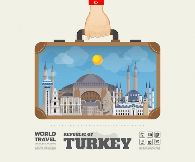 Ręka z indykiem landmark global travel and journey infographic bag.