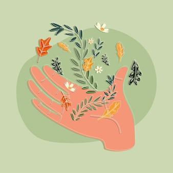 Ręka z kolorowymi kwiatami