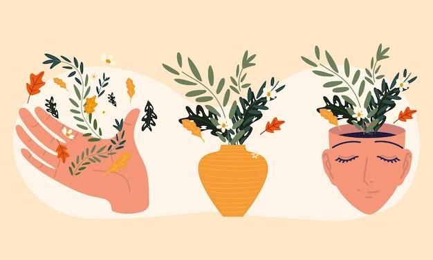Ręka z kwiatami w wazonie