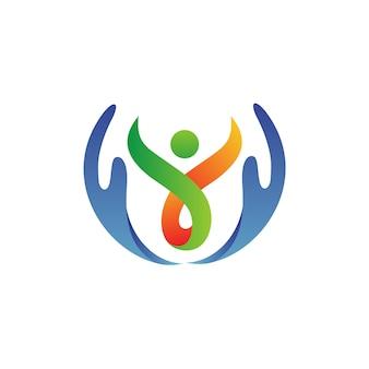 Ręka z ludźmi opieki logo wektor