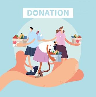 Ręka z ludźmi symbol darowizny na cele charytatywne