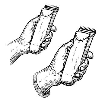 Ręka z maszynką do strzyżenia. element dla fryzjera męskiego emblemata, znaka, plakata, karty ,. ilustracja
