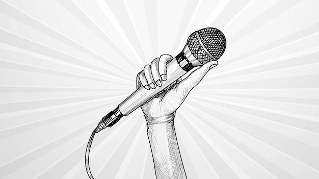 Ręka z mikrofonem szkic tło