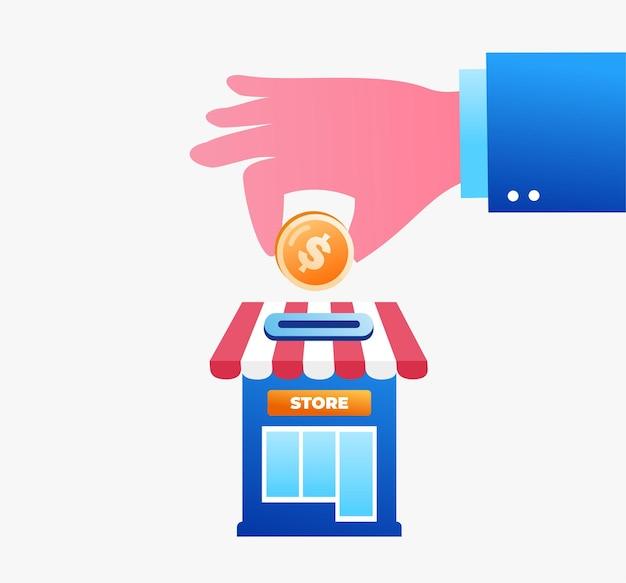 Ręka z monetą inwestowanie strony docelowej strony internetowej ilustracja płaski szablon wektorowy