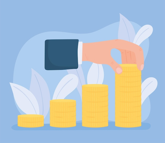 Ręka z monetami pieniądze