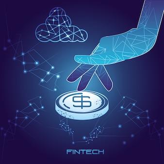 Ręka z monety pieniądze technologii finansowej