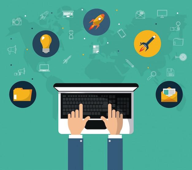 Ręka z narzędziem online do marketingu internetowego laptopa