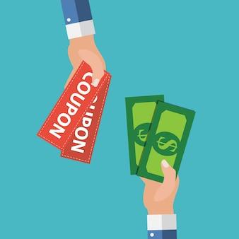 Ręka z papierowymi kuponami płaskimi. prezent, prezent, koncepcja ð¡oupon. ilustracja