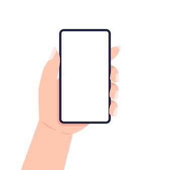 Ręka z paznokciami, trzymając smartfon. .