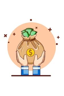 Ręka z pieniądze ikona ilustracja kreskówka