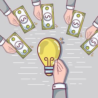 Ręka z pieniędzmi na finansowanie crowdfundingu