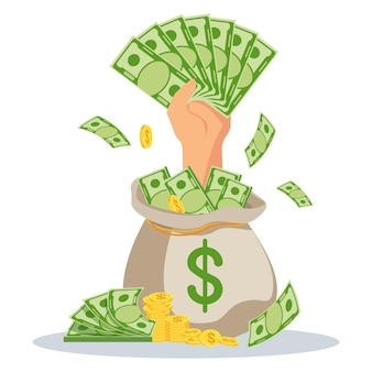 Ręka z pieniędzmi wystaje z worka pieniędzy. szybkie pożyczki o niskim oprocentowaniu. pomoc finansowa, wsparcie. ilustracja wektorowa płaski.