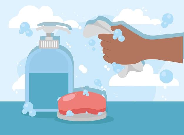 Ręka z ręcznikiem i mydłem