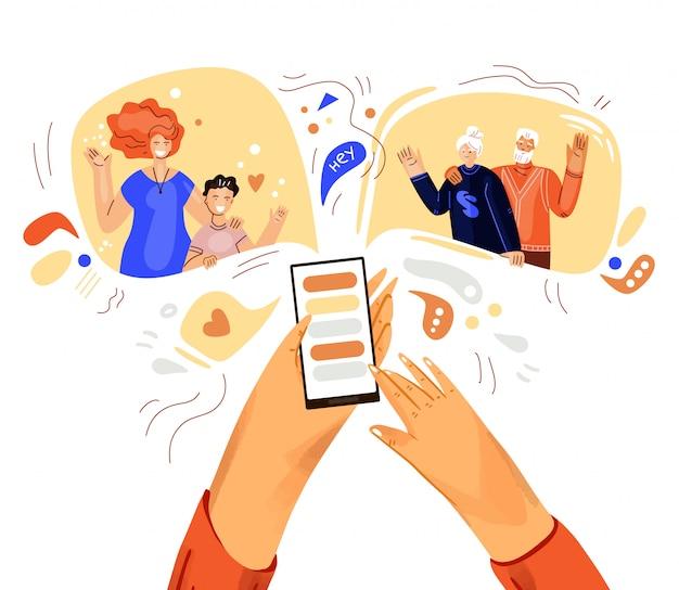 Ręka z telefon ilustracją, pojęcie o online rozmowie wideo. rodzinne spotkanie online ze smartfonem.