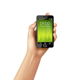 Ręka z telefonem komórkowym
