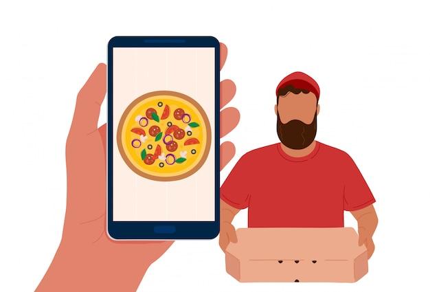 Ręka z telefonem z pizzą i dostawcą