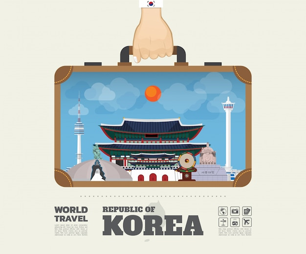 Ręka z torbą infographic korea landmark global travel and journey.