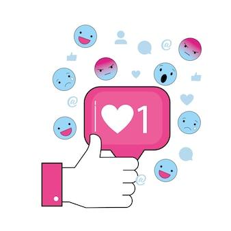 Ręka z wiadomością na czacie społecznościowym i emoji