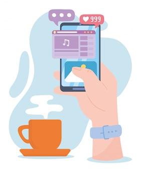 Ręka ze smartfonem muzyczny film wideo w sieci społecznościowej, komunikacja i technologie