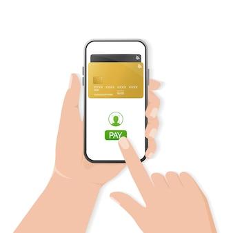 Ręka ze smartfonem. streszczenie płatności online za projekt urządzenia mobilnego. transakcja online.