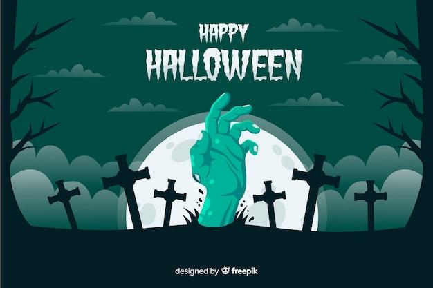Ręka zielony zombie z tłem krzyży