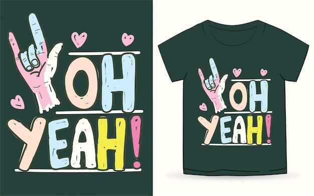 Ręka znak miłości z hasłem typografii na koszulkę