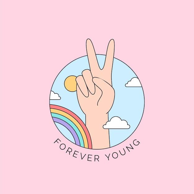 Ręka znak pokoju z kolorową tęczową ilustracją na szczęśliwy dzień młodzieży na zawsze młodą kampanię