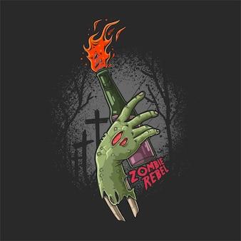 Ręka zombie przynosi ilustrację mołotowa