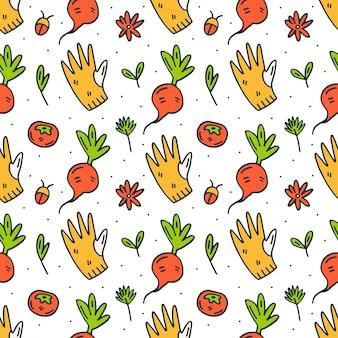 Rękawica ogrodowa, rzodkiewka i kwiat doodle ręcznie rysowane wzór