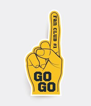 Rękawica palca fanów sportu, żółta piankowa rękawica szablon naklejki na białym tle. ilustracja