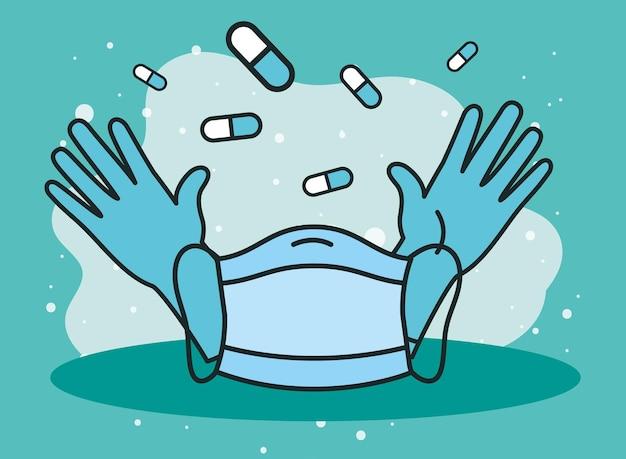 Rękawiczki medyczne i maska na twarz