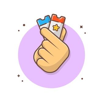 Ręki mienia biletów ikony ilustracja