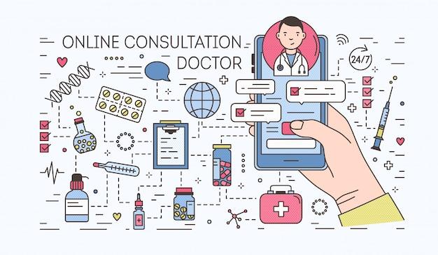 Ręki mienia smartphone z internetem gawędzi z lekarką na ekranie przeciw pigułkom i lekom. konsultacja medyczna online. kolorowy baner w stylu sztuki linii. ilustracja.