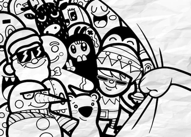 Ręki otwarcia zasłony ilustracja, święty mikołaj z przyjaciółmi