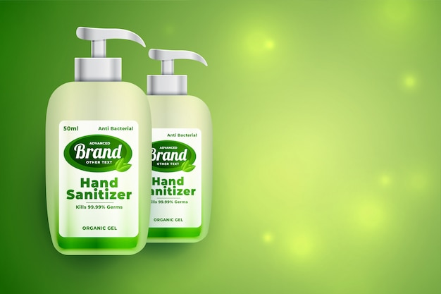 Ręki sanitizer zieleni butelki pojęcia mockup tło